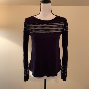 Free People long sleeve mesh accent top